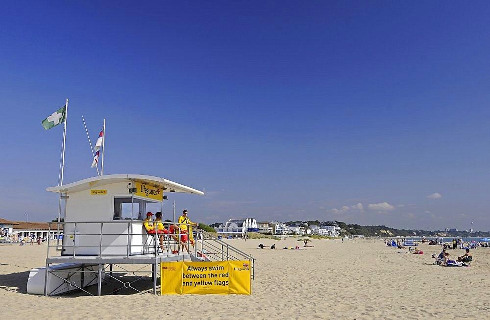England, Dorset, Poole, Lifeguard Station on Sandbanks Beach.