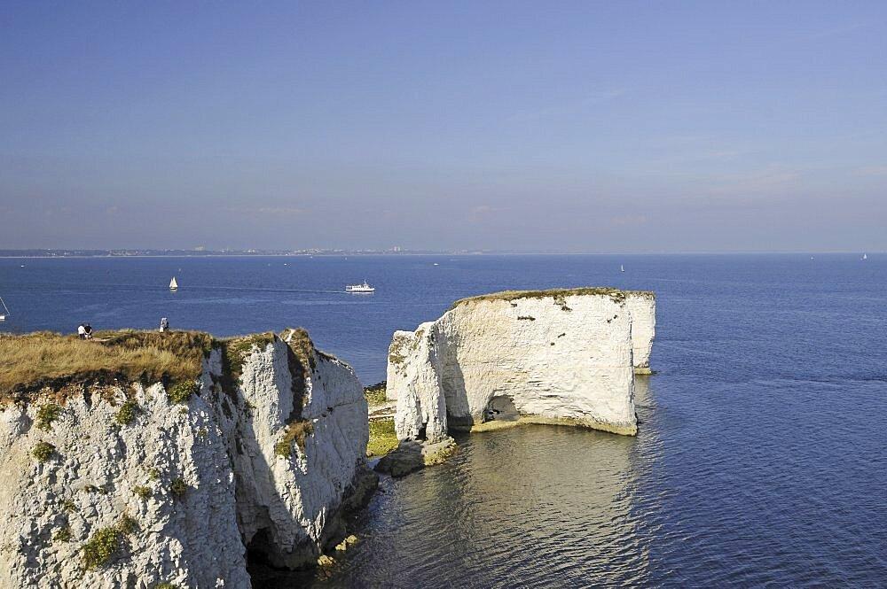 England, Dorset, Isle of Purbeck, Old Harry Rocks Jurassic Coast.