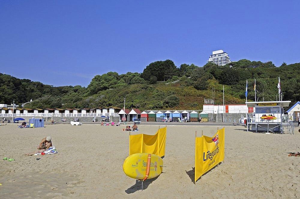 England, Dorset, Bournemouth, Lifeguard Station on the beach.