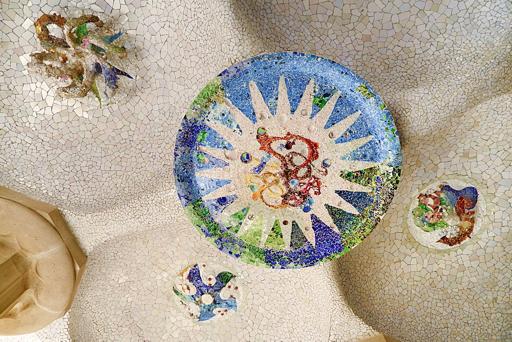 Spain, Catalunya, Barcelona, Parc Guell by Antoni Gaudi, ceiling Mosaic in the Hypostyle Room.
