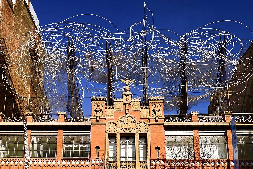 Spain, Catalunya, Barcelona, Facade of Fundacio Antoni Tapies.