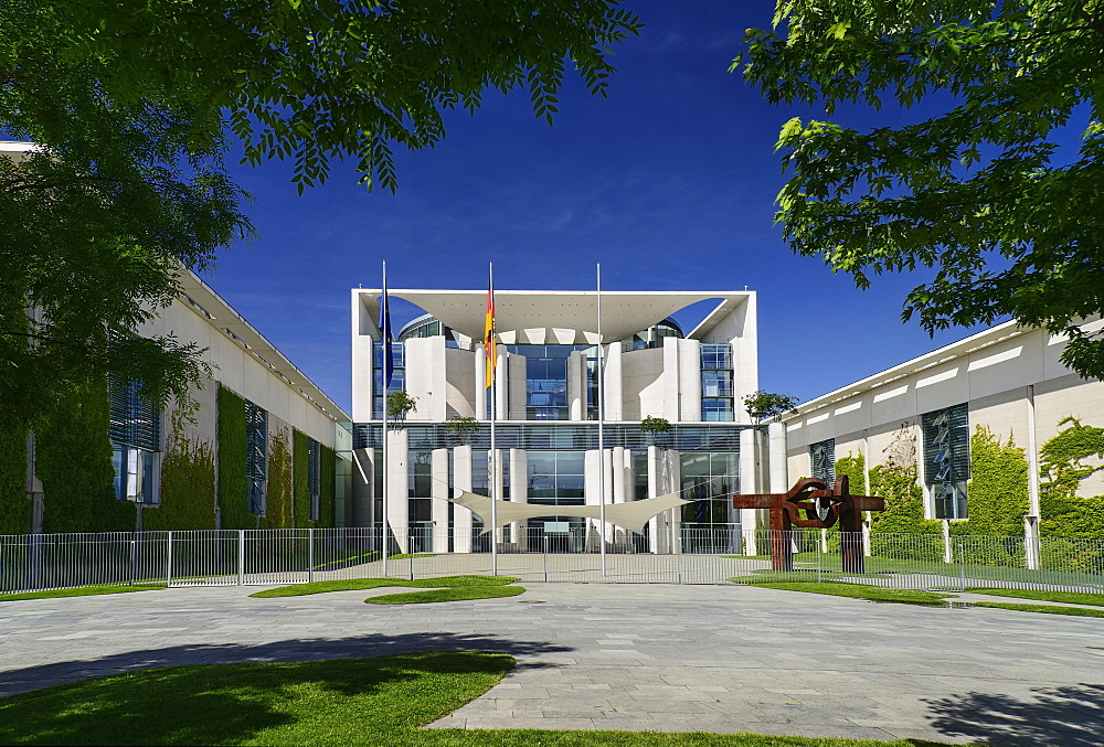 Germany, Berlin, Facade of the Bundeskanzleramt or Federal Chancellery building which is the official residence of Germany's Chancellor.