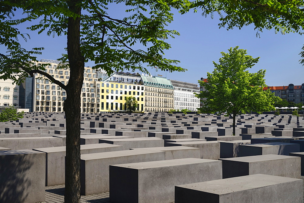 Germany, Berlin, General view of The Memorial to the Murdered Jews of Europe more commonly known as the Holocaust Memorial.