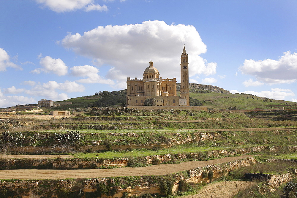 Malta, Gozo, Ta Pinu, Sanctuary church and terraced fields.