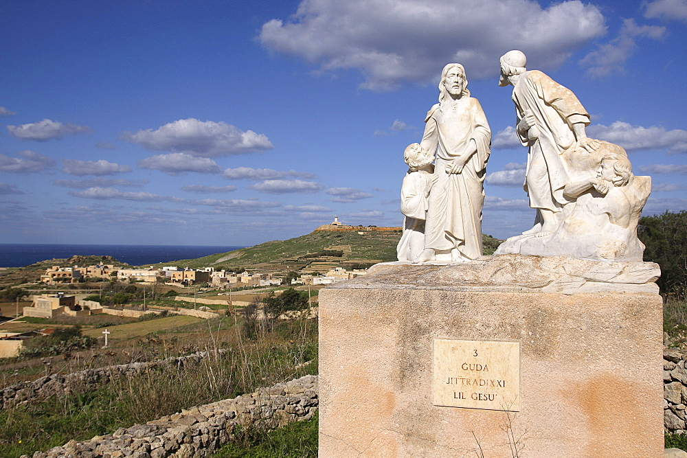Malta, Gozo, Ta Pinu, Statue showing the third of the Stations of the Cross, Judas with Jesus.