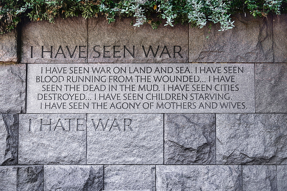 USA, Washington DC, National Mall, President Franklin Delano Roosevelt Memorial, Mural with inscription detailing the former President's feelings about war.