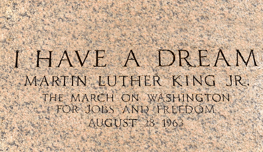 USA, Washington DC, National Mall, Lincoln Memorial, Martin Luther King march engraving in front of the peristyle commemorating his I have a dream speech during the March on Washington for Jobs and Freedom on August 28th 1963.