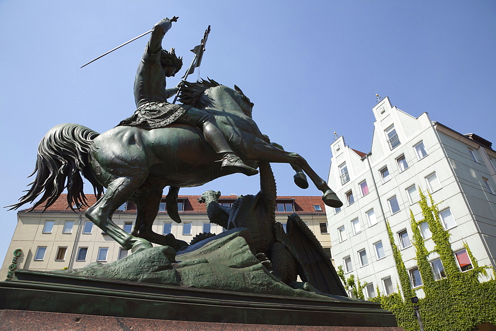 Germany, Berlin, Mitte, Equestrian statue in a square on the banks of the river Spree.