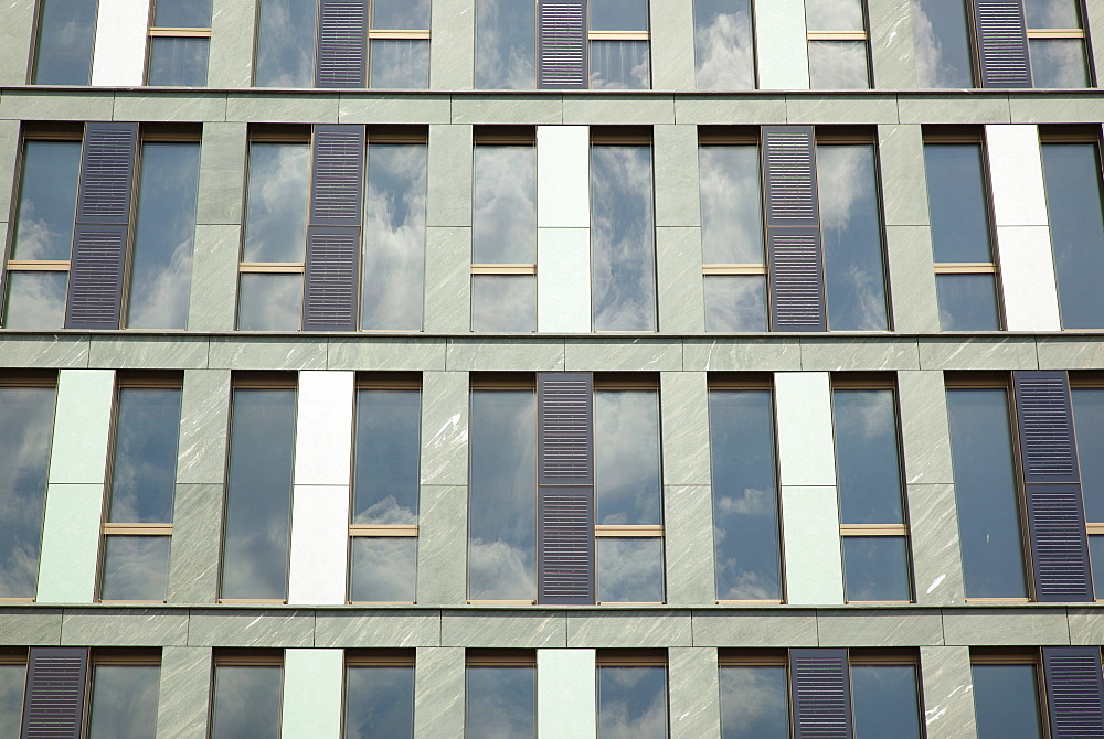 Germany, Berlin, Mitte, Exterior of office building clad with colourful panels including Solar.