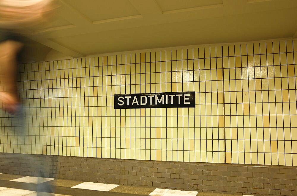 Germany, Berlin, Mitte, Stadmitte underground station platform.