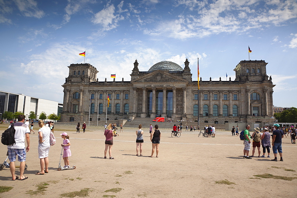 Germany, Berlin, Mitte, Reichstag building with glass dome deisgned by Norman Foster.
