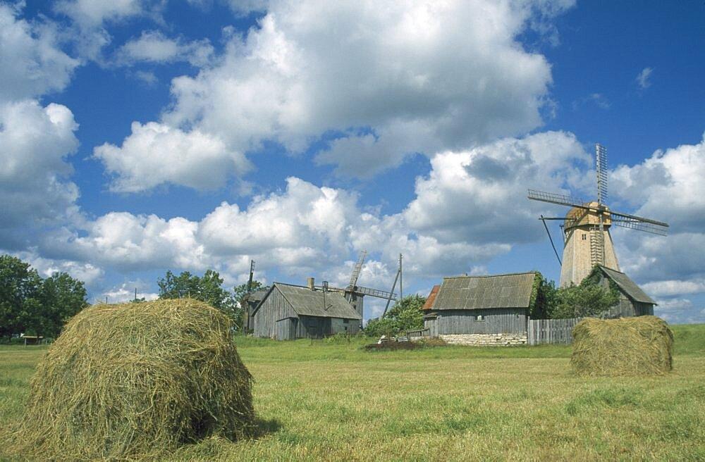ESTONIA  Saaremaa Island Farm buildings haystack and windmill