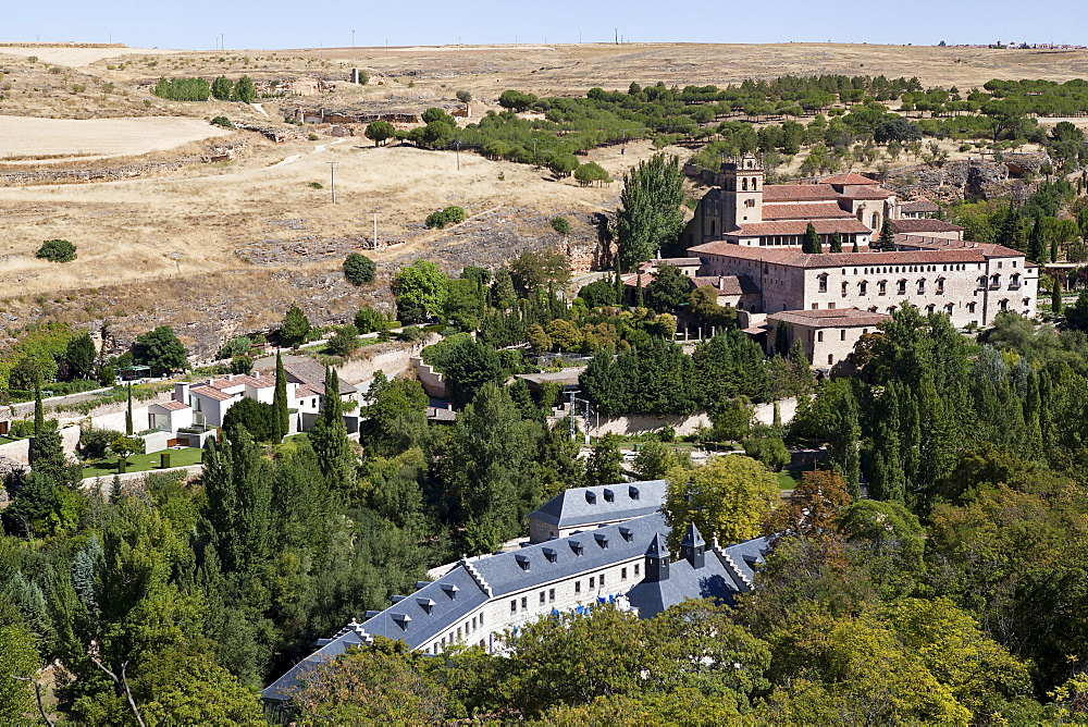 Spain, Castille-Leon, Segovia, View of Santa Cruz Monastery from the Alzazar.