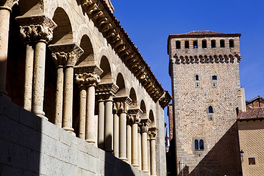 Spain, Castille-Leon, Segovia, Arches of the church of St Martin.