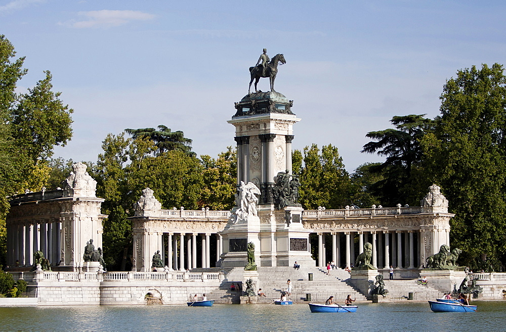 Spain, Madrid, Monument to Alfonso XII at Retiro Park.