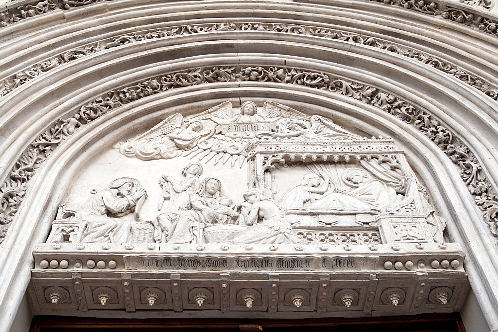 Spain, Madrid, Detail of Nativity scene from the main portal of church San Jeronimo el Real.