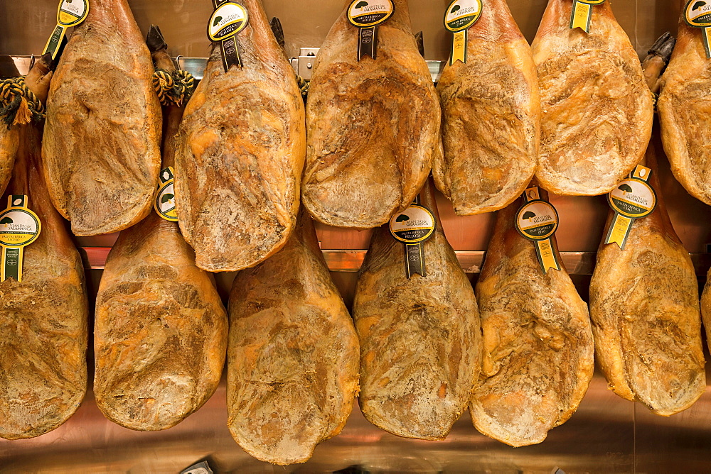 Spain, Madrid, Display of jamon.