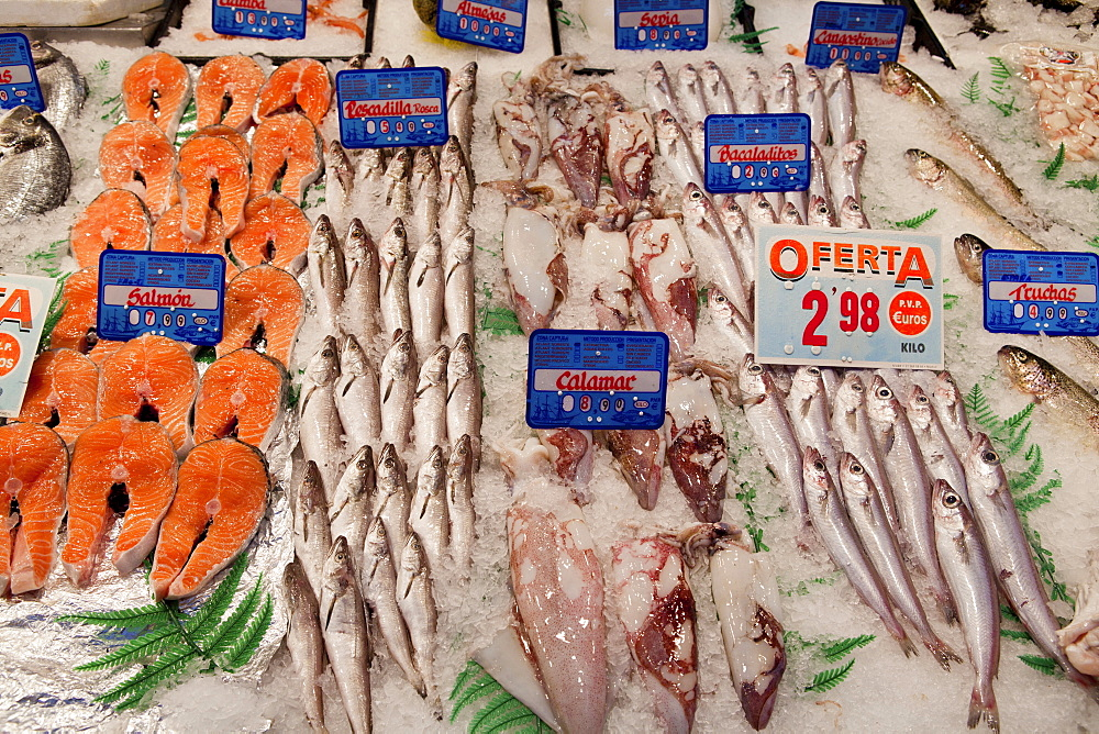 Spain, Madrid, Display of fish on a stall in Mercado de Barcelo.