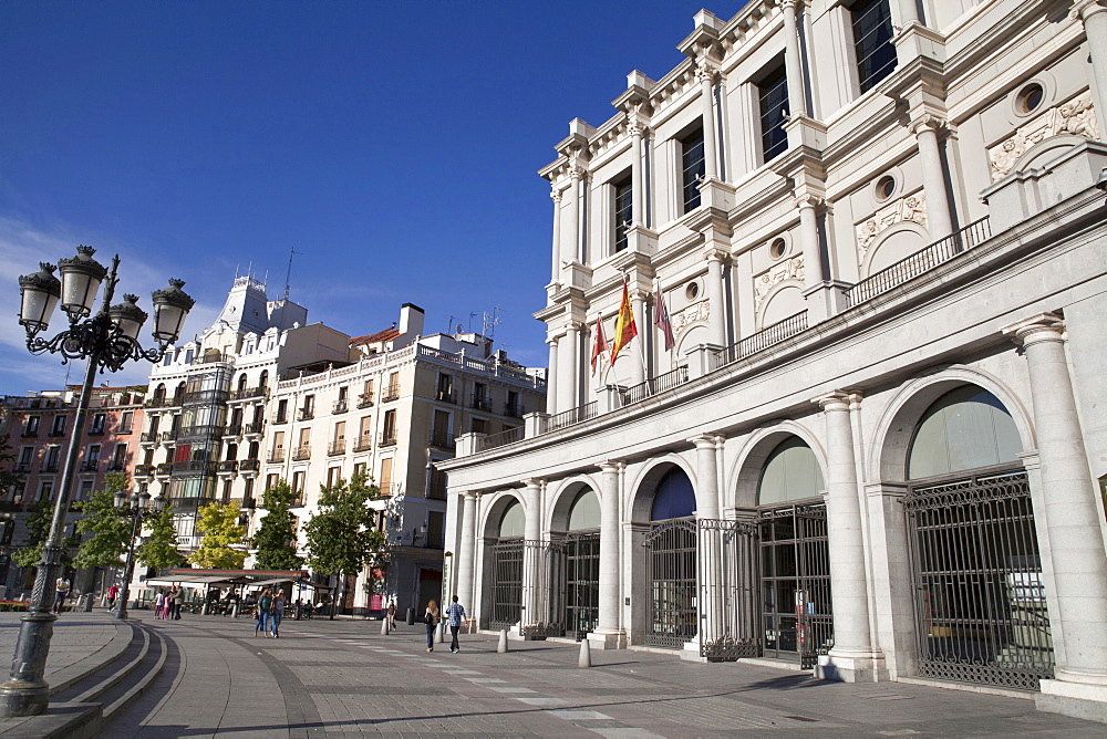 Spain, Madrid, The rear of the Teatro Real Opera House in the Plaza de Oriente.