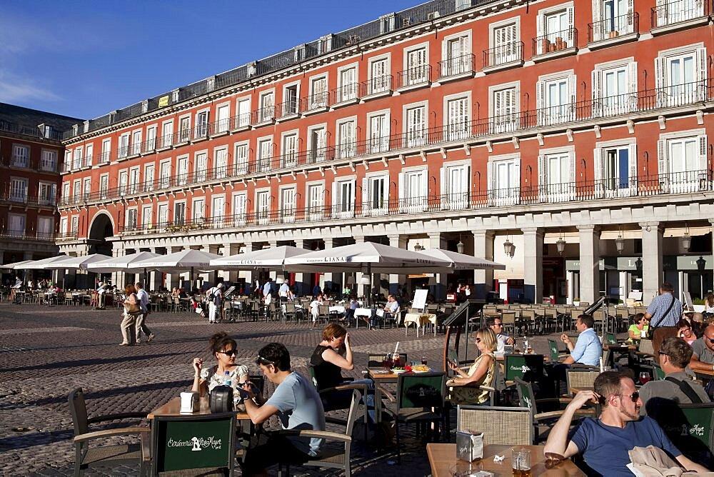 Spain, Madrid, Restaurants in the Plaza Mayor.