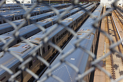 USA, New York State, New York City, Manhattan, Midtown, MTA trains parked in the West Side Yard. - 797-12829