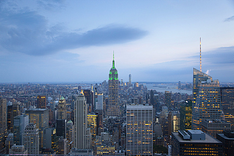 USA, New York State, New York City, Manhattan, City skyline seen from top of the Rockefeller Center. - 797-12833