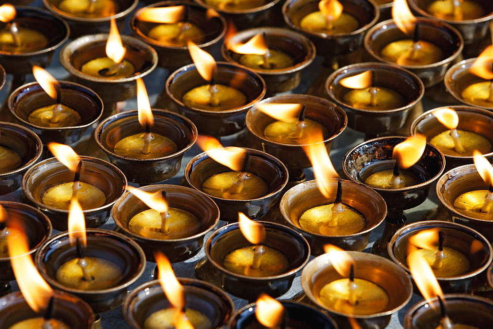 Nepal, Kathmandu,Traditional butter-oil candles.