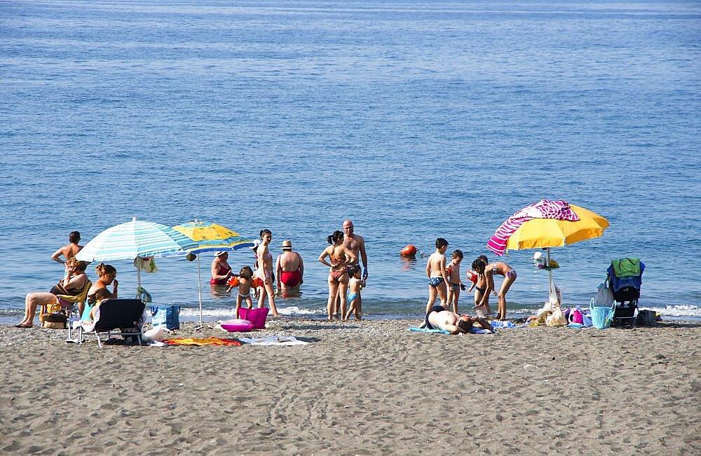 Italy, Campania, Amalfi Coast, Minori beach crowded with families.