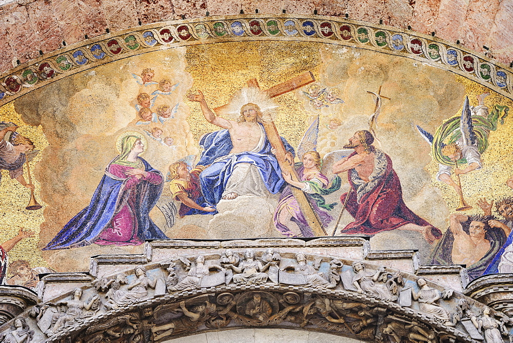 Italy, Venice, St Mark's Basilica, The Last Judgement over the main portal of the western facade. - 797-12885