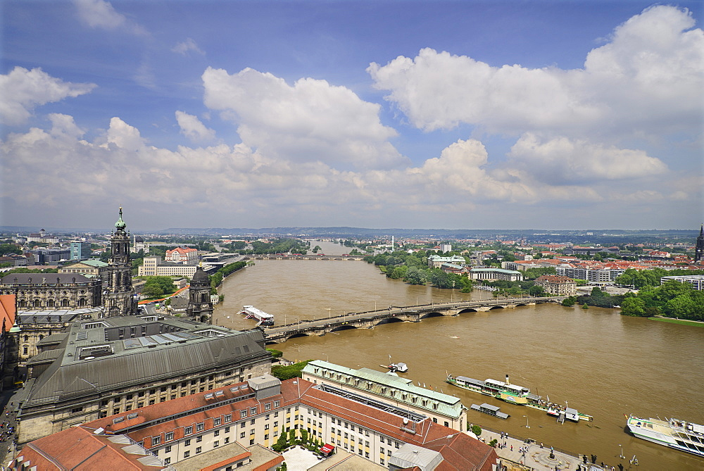 Germany, Saxony, Dresden, View of Dresden and the River Elbe in flood viewed from the dome of Frauenkirche.