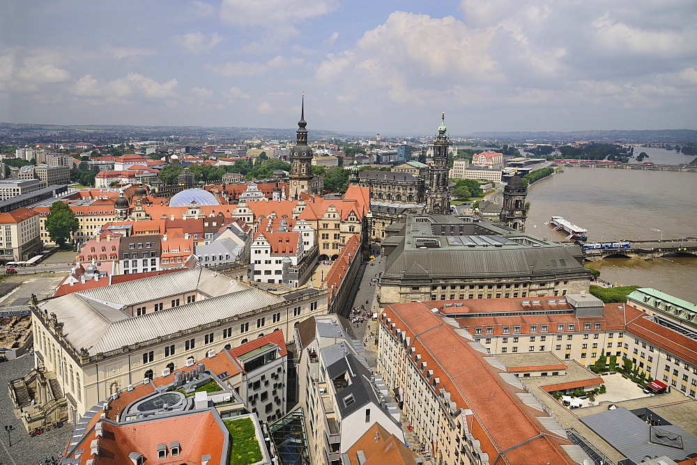 Germany, Saxony, Dresden, View of Dresden and the River Elbe from the dome of Frauenkirche.