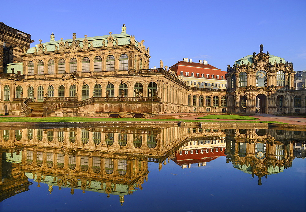 Germany, Saxony, Dresden, Zwinger Palace, Glockenspiel Pavilion reflected in pool. - 797-12918