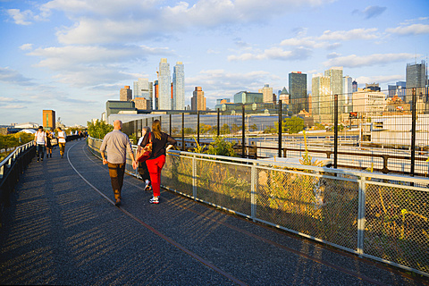 USA, New York, Manhattan, wild plant area and original rails of the disused elevated West Side Line railroad making the High Line linear park beside the Hudson Rail Yards with trains at the north end in Midtown.