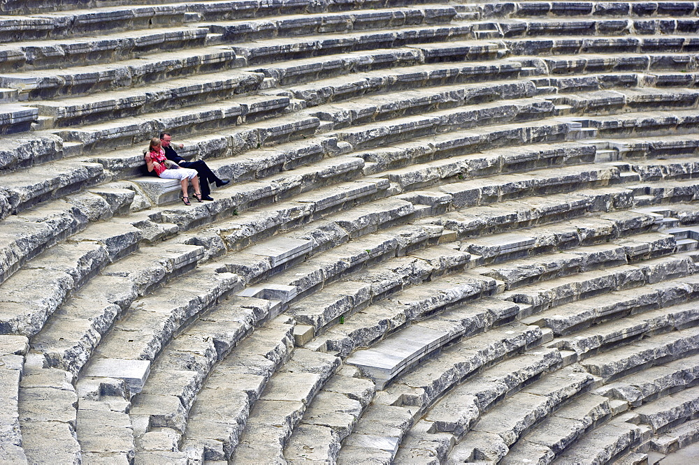 Turkey, Aspendos, Roman Amphitheatre Seats.
