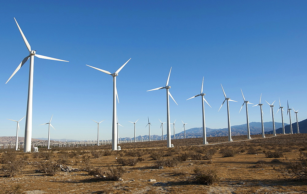 USA, California, San Gorgonio Pass Wind Farm in the San Bernadino Mountains close to Palm Springs.