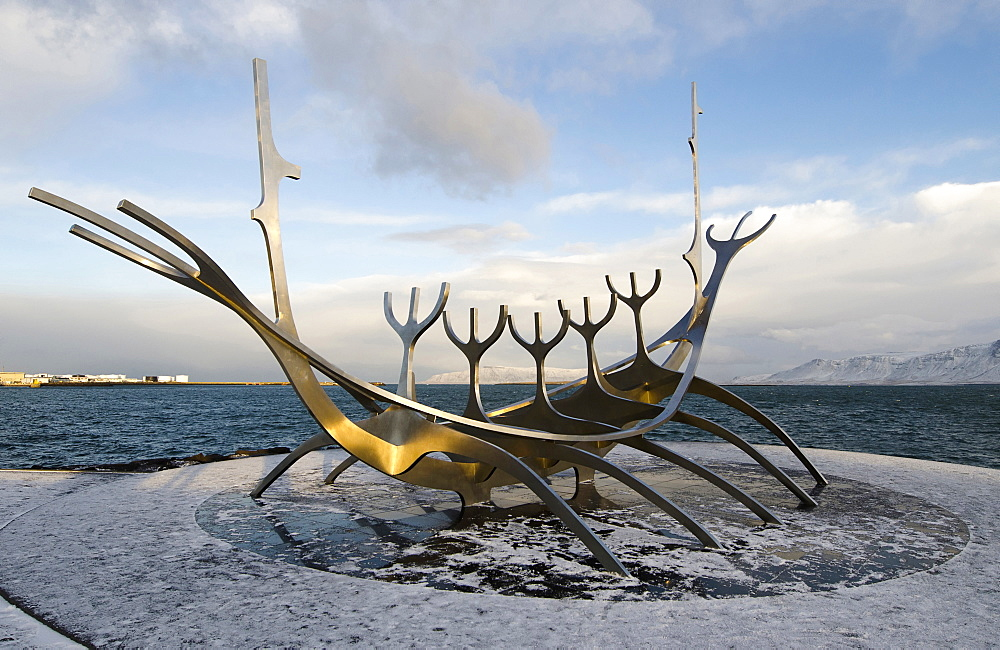 Iceland, Reykjavik, Solfar stainless steel sculpture of a Viking ship by Jon Gunnar Arnason.