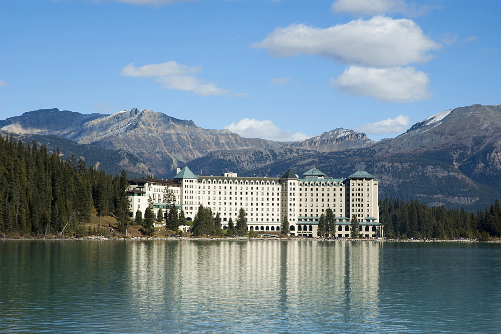 Canada, Alberta, Fairmont Chateau Lake Louise, with Lake Louise in foreground.