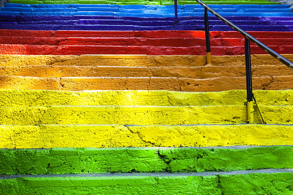 Turkey, Istanbul, Colourful painted steps, Karakoy region.