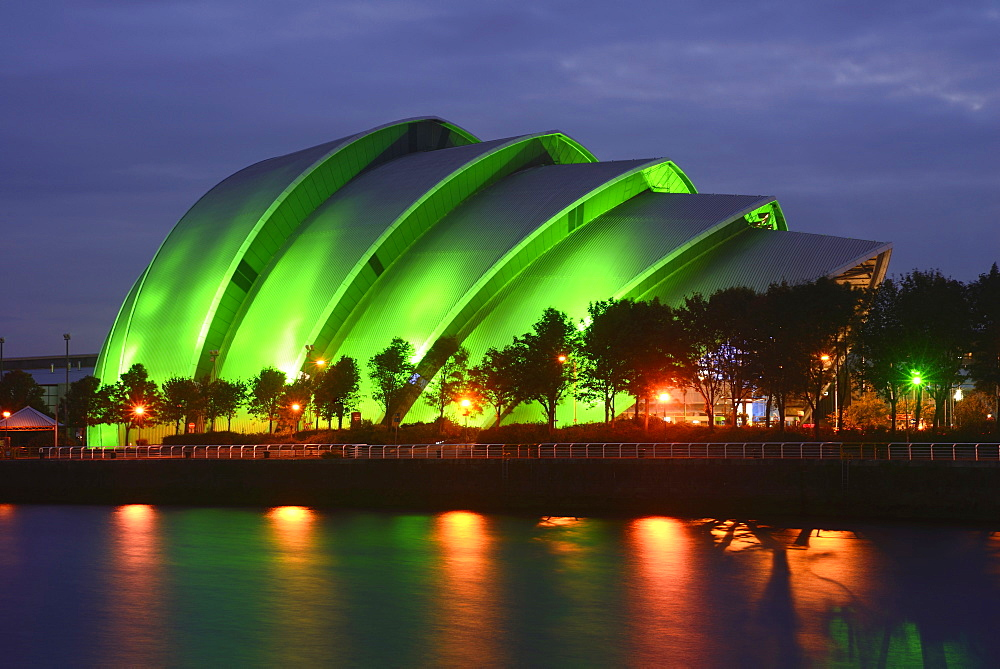Scotland, Glasgow, The Clyde, Clyde Auditorium 'Armadillo' at night.
