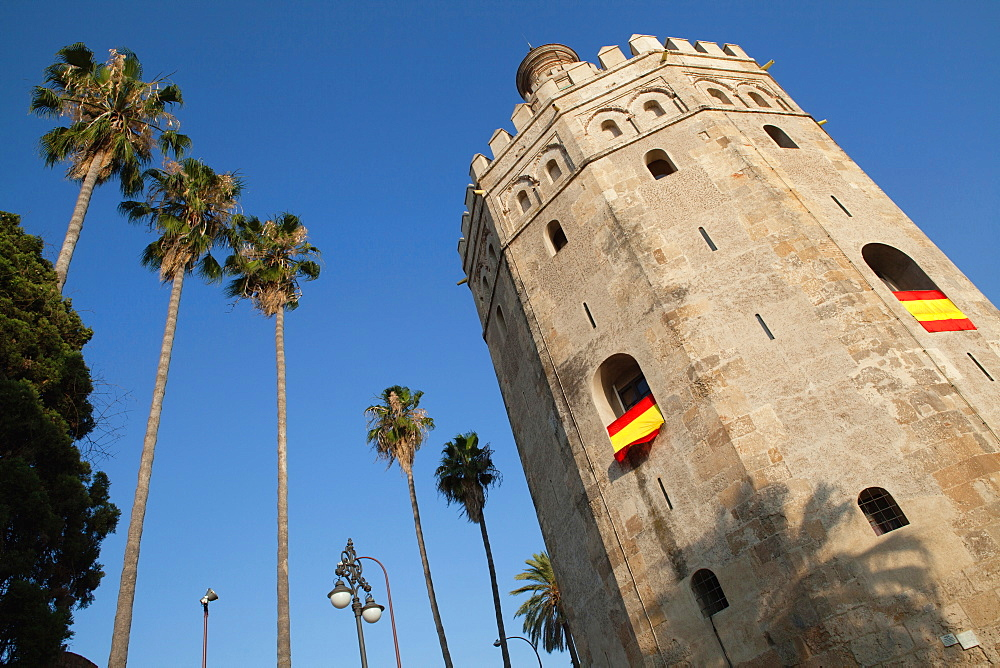 Spain, Andalucia, Seville, Torre del Oro and Navy Museum.