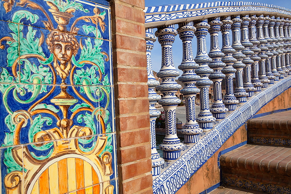 Spain, Andalucia, Seville, Detail of the ceramic balustrade on a bridge over the moat at the Plaza de Espana. - 797-13029