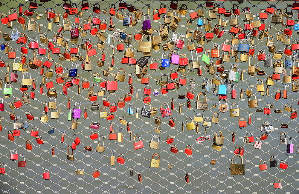 Austria, Salzburg, Makartsteg Pedestrian Bridge festooned with Love Locks.