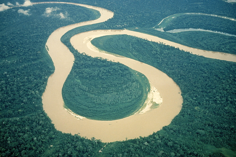 PERU  Rio Ucalyali Aerial view of s bends in river between Pucatipa and Rio Santiago through north eastern Peruvian rainforest. American South America  - 797-1398