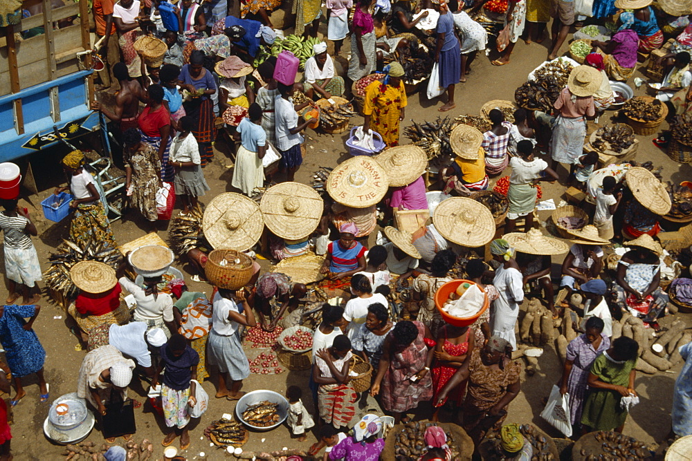GHANA Accra Crowded market with mixed produce