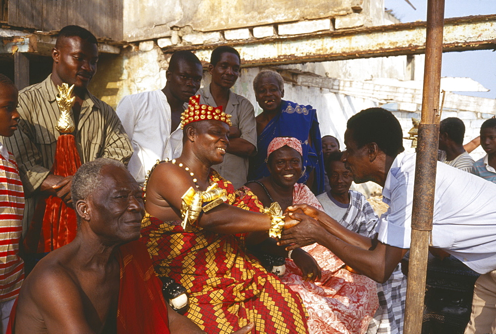 GHANA  General Ashanti chief receiving obeisance in village outside Accra. Asante   Akan people