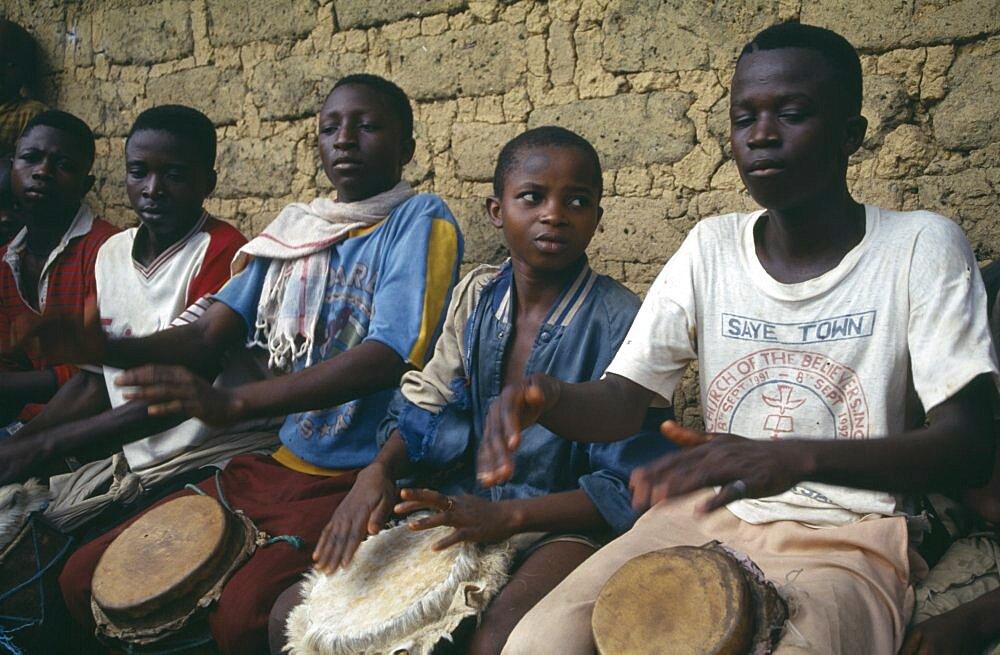 LIBERIA  Upper Lofa Festival drummers.