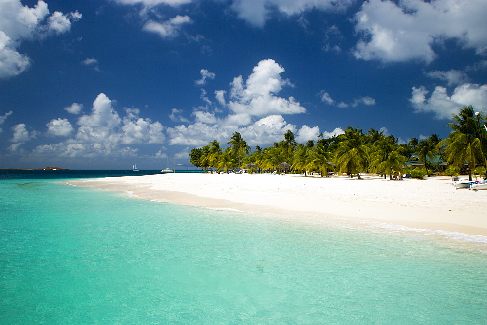 WEST INDIES St Vincent & The Grenadines Palm Island The beach at Palm Island Resort