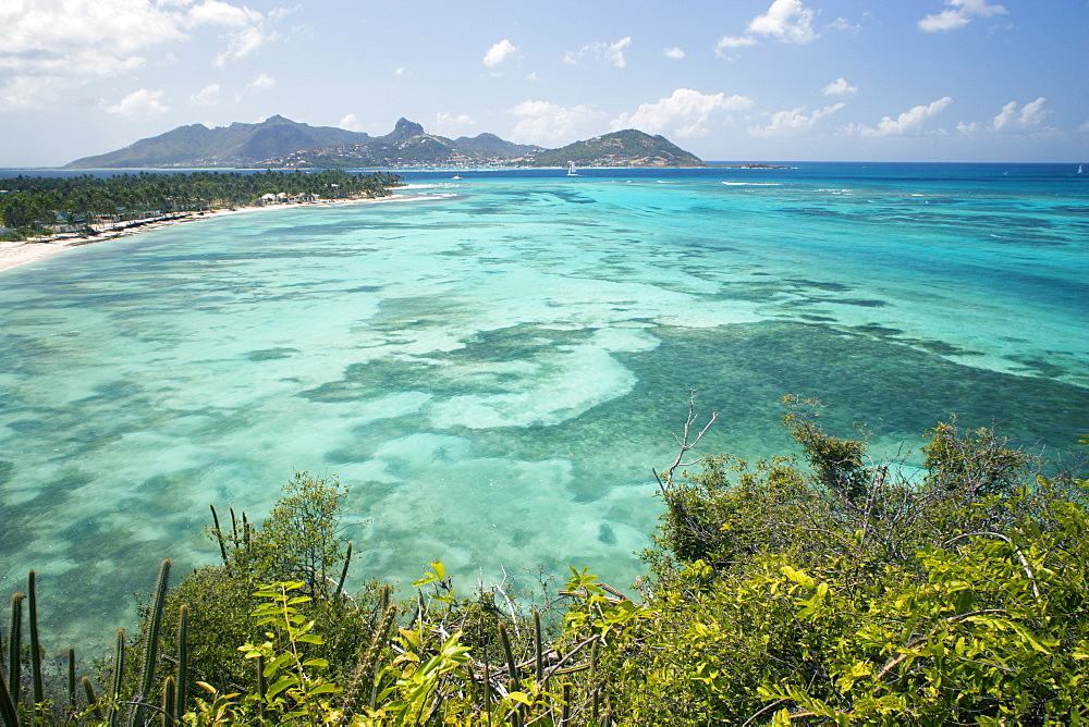 WEST INDIES St Vincent & The Grenadines Palm Island Union Island seen across the north bay of Union Island