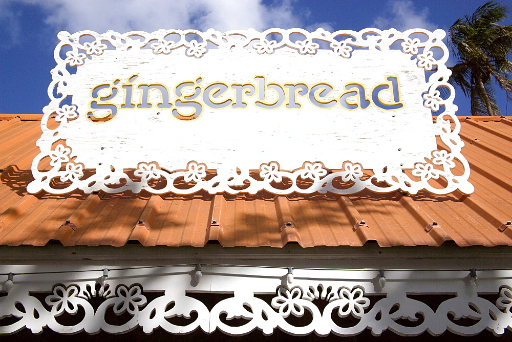 WEST INDIES St Vincent & The Grenadines Bequia Sign for the Gingergread restaurant in Port Elizabeth