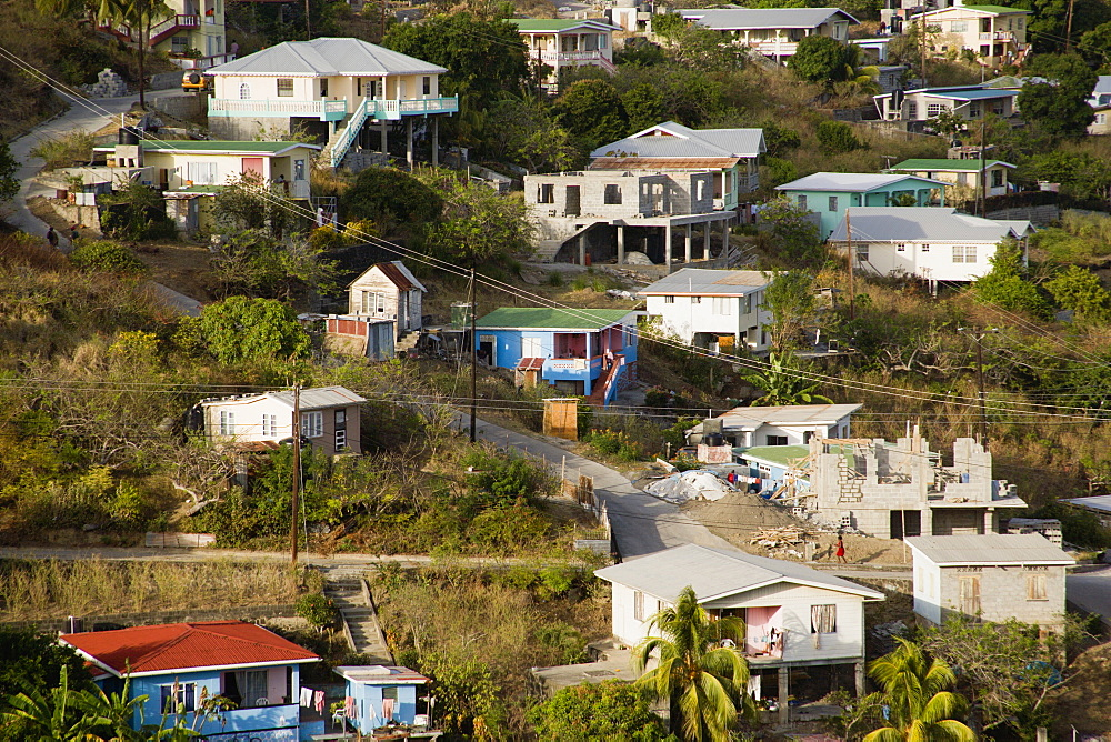 WEST INDIES St Vincent & The Grenadines Bequia Hillside housing of the village of Hamilton